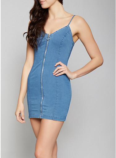 Denim Zip Front Dress,LIGHT WASH,large