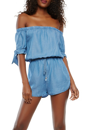 Chambray Off the Shoulder Romper,MEDIUM WASH,large