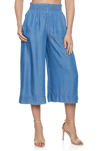 Cropped Chambray Gaucho Pants by Rainbow