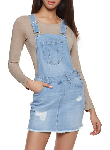 Highway Denim Overall Dress,LIGHT WASH,large