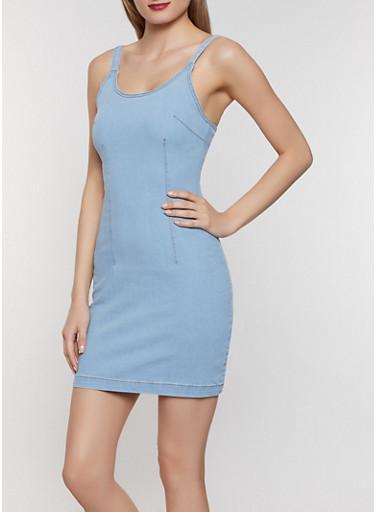 Highway Denim Bodycon Dress,LIGHT WASH,large