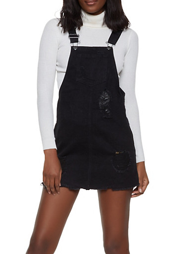 Highway Destruction Denim Overall Dress,BLACK,large