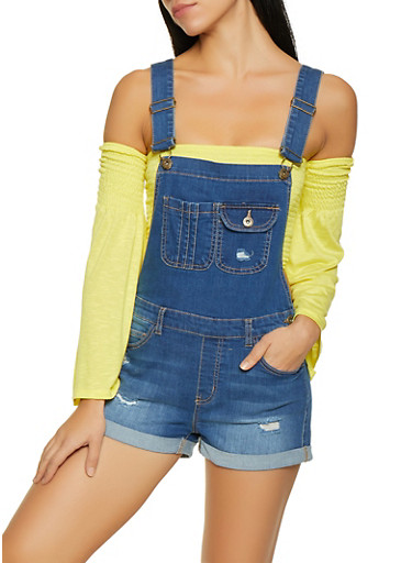 WAX Distressed Denim Shortalls,MEDIUM WASH,large