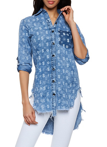 Dollar Sign Print Denim High Low Shirt,MEDIUM WASH,large