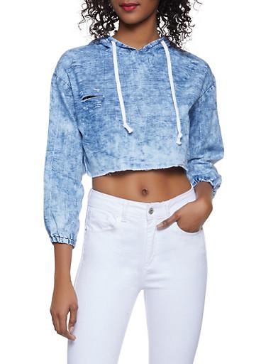 Distressed Chambray Cropped Sweatshirt,BLUE,large