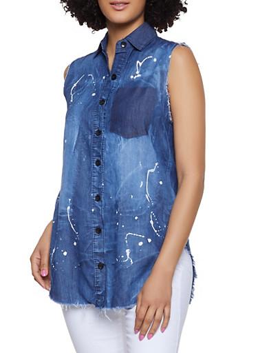 Paint Splatter Sleeveless Denim Shirt,DARK WASH,large
