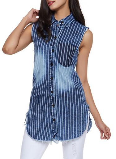 Striped Denim Tunic Shirt,DARK WASH,large