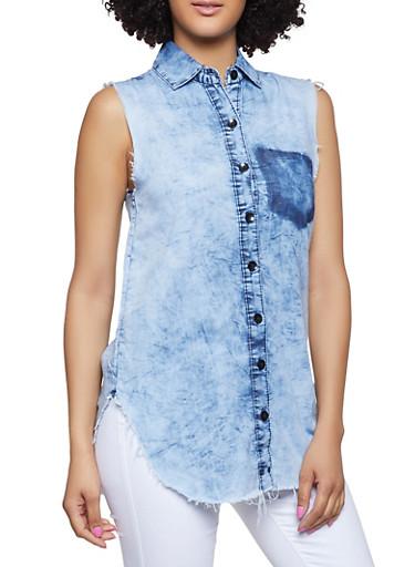 Frayed Denim Shirt,MEDIUM WASH,large