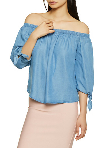 Chambray Off the Shoulder Tie Sleeve Top,MEDIUM WASH,large