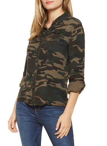 Button Front Camo Shirt,OLIVE,large