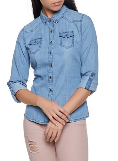 Button Front Denim Shirt,MEDIUM WASH,large