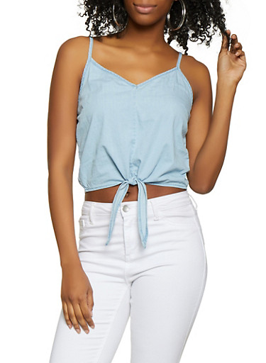 Tie Front Chambray Cami,LIGHT WASH,large