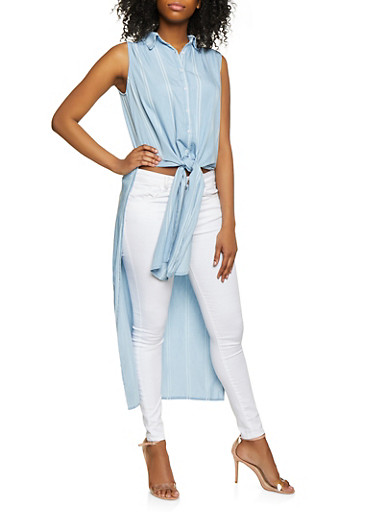Highway Button Front High Low Chambray Top,LIGHT WASH,large