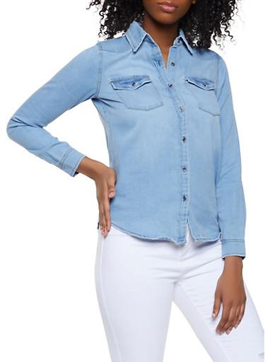 Highway Denim Button Front Shirt,LIGHT WASH,large