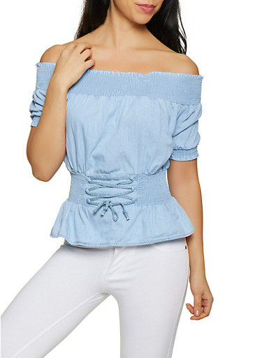 Smocked Denim Off the Shoulder Peplum Top,LIGHT WASH,large