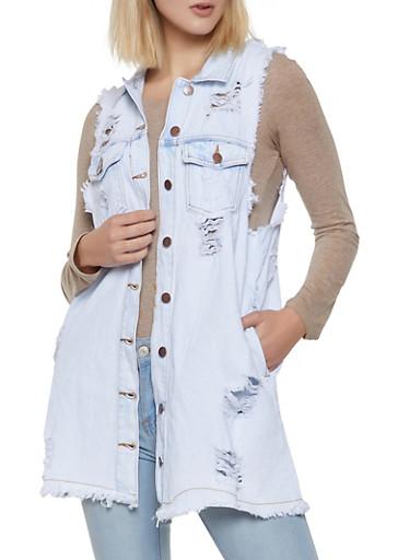 Frayed Denim Shirt Dress,WHITE,large