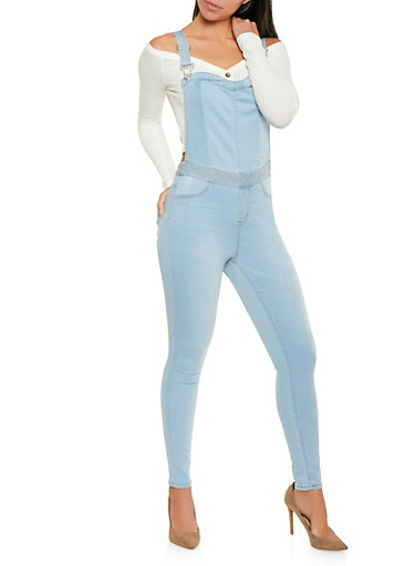 Almost Famous Denim Overalls,LIGHT WASH,large