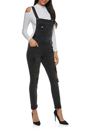 Almost Famous Distressed Denim Overalls,BLACK,large
