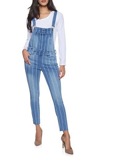 Almost Famous Striped Denim Overalls,MEDIUM WASH,large