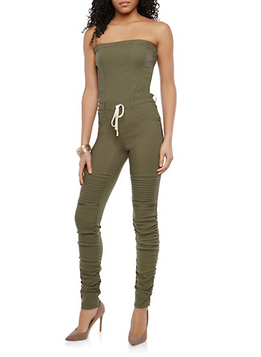 Strapless Ruched Leg Jumpsuit,OLIVE,large