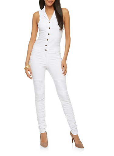 Ruched Leg Button Front Jumpsuit,WHITE,large