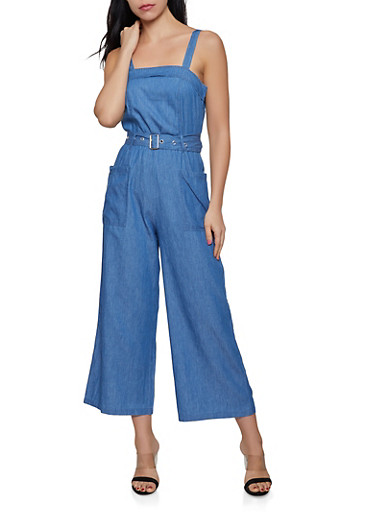 Wide Leg Belted Chambray Jumpsuit,LIGHT WASH,large