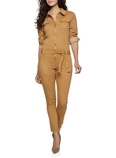 Solid Belted Jumpsuit,BROWN,large