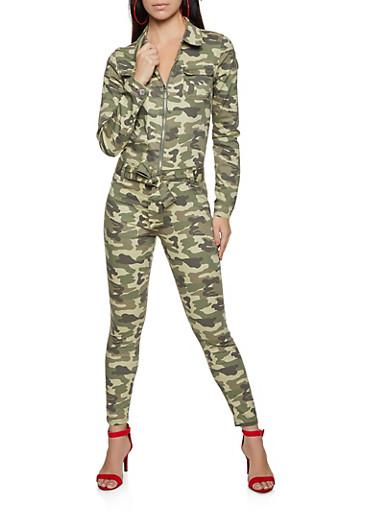 Camo Zip Front Jumpsuit,TAN,large