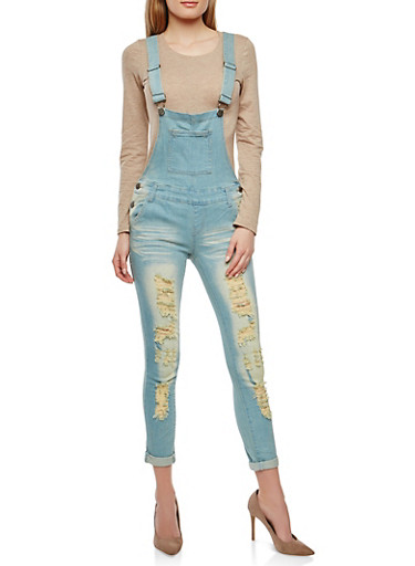 VIP Destroyed Denim Overalls,BLACK,large