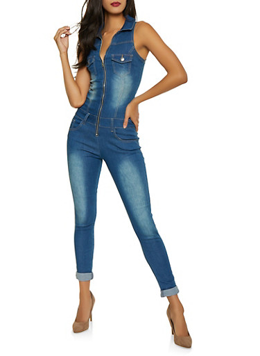 VIP Denim Jumpsuit,MEDIUM WASH,large