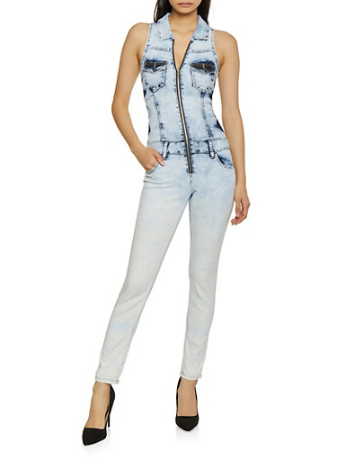 VIP Acid Wash Denim Jumpsuit,LIGHT WASH,large