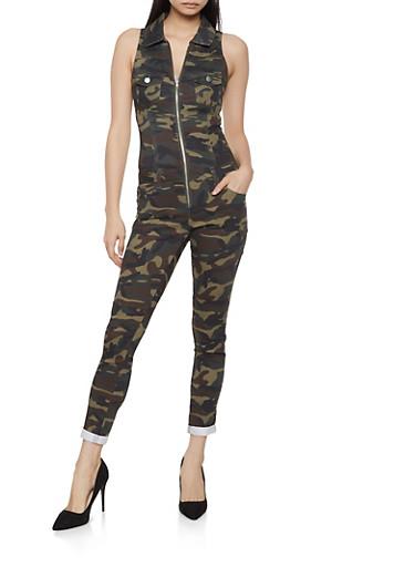 Camo Zip Front Jumpsuit,OLIVE,large