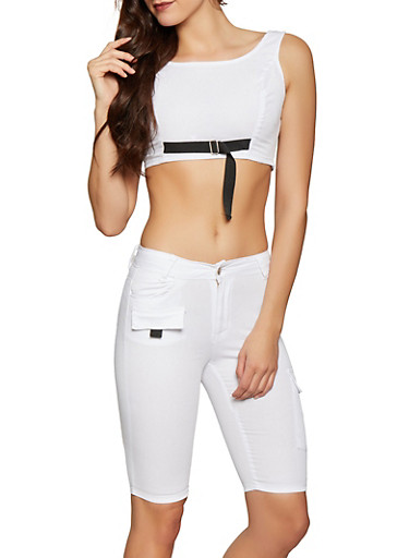 Cargo Bermuda Shorts and Crop Top Set,WHITE,large