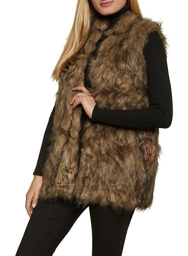 Open Front Faux Fur Vest,BROWN,large