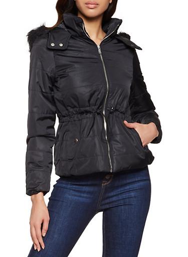 Drawstring Waist Hooded Puffer Jacket,BLACK,large