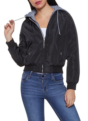 Hooded Double Zip Bomber Jacket,BLACK,large