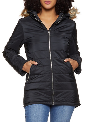 Hooded Puffer Coat,BLACK,large
