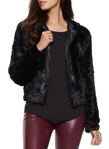 Faux Fur Hooded Bomber Jacket,BLACK,large
