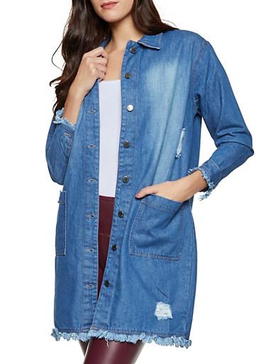 Distressed Long Jean Jacket,MEDIUM WASH,large