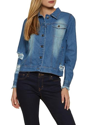 Distressed Faded Denim Jacket,MEDIUM WASH,large