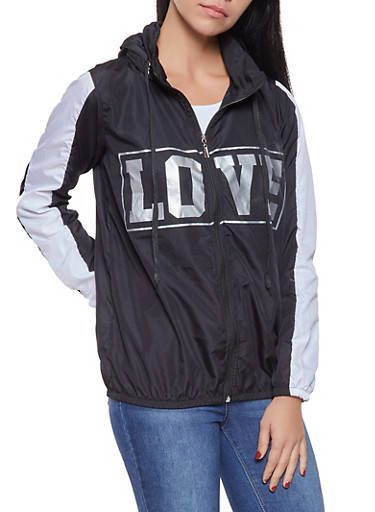 Love Graphic Hooded Windbreaker,BLACK,large