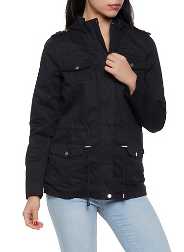 Drawstring Waist Hooded Anorak Jacket,BLACK,large