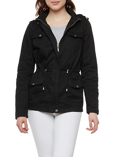 Twill Cinched Waist Anorak Jacket,BLACK,large