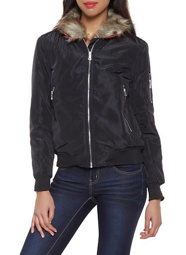 Faux Fur Collar Bomber Jacket,BLACK,large