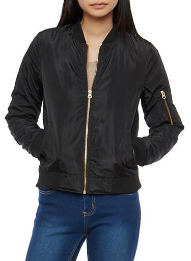 Zip Pocket Bomber Jacket,BLACK,large
