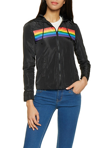 Rainbow Stripe Windbreaker,BLACK,large