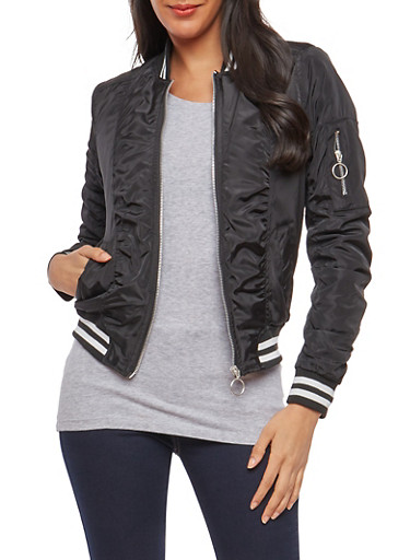 Striped Trim Bomber Jacket,BLACK,large
