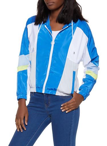 Color Blocked Windbreaker Jacket | 1086051065430,RYL BLUE,large