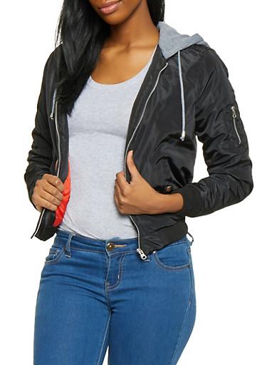 Hooded Zip Front Bomber Jacket,BLACK,large