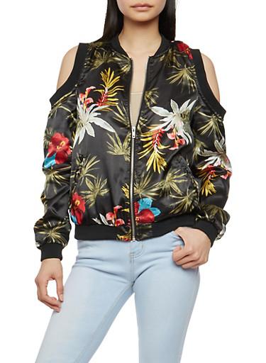 Floral Satin Cold Shoulder Bomber Jacket,PRINT0468,large